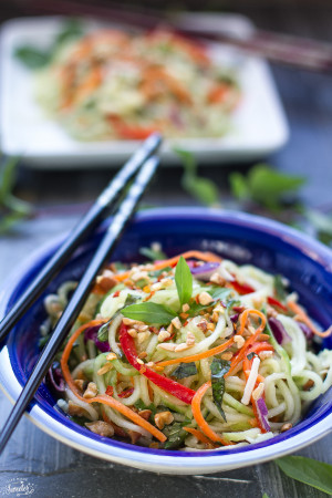 Asian Zucchini Cucumber Noodle Salad makes a healthy, gluten free noodle dish perfect as a side or a main meal