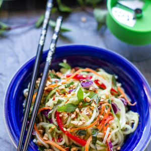 Asian Zucchini Cucumber Noodle Salad makes a healhty, gluten free noodle dish perfect as a side or a main meal