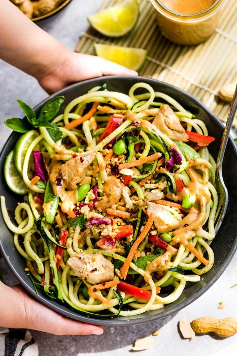 Asian Zucchini Noodle Salad with Thai Peanut Dressing