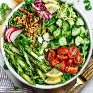 Overhead view of Vegan Asparagus salad in a bowl