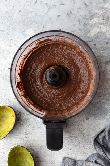 Creamy paleo chocolate pudding in a food processor bowl