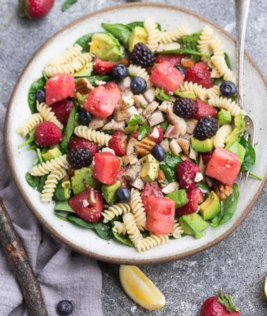 Berry Avocado Spinach Pasta Salad
