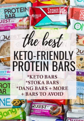 Collage of the Best Keto Protein Bars including which ones to avoid