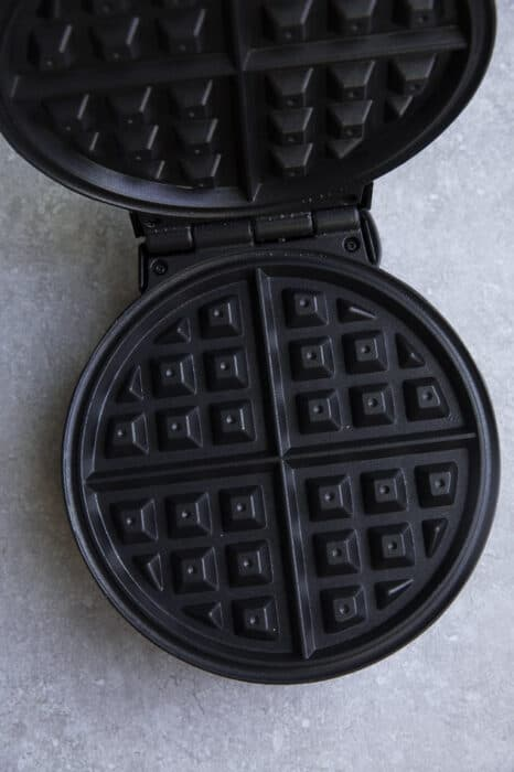 Top view of belgian waffle maker to make chaffles