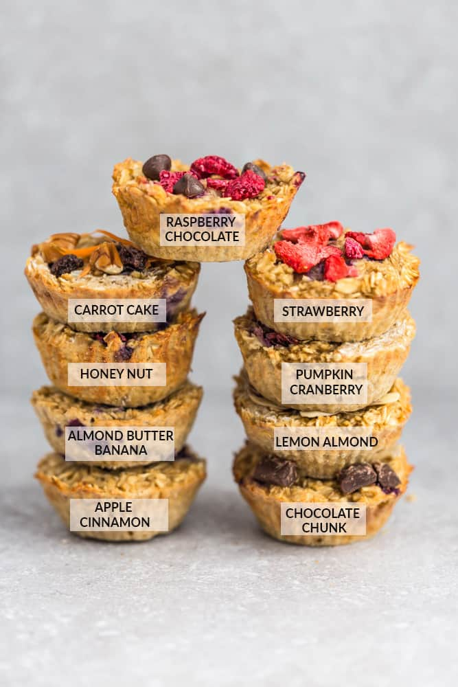 Two Stacks of Different Oatmeal Breakfast Muffin Variations with the Flavors Labeled