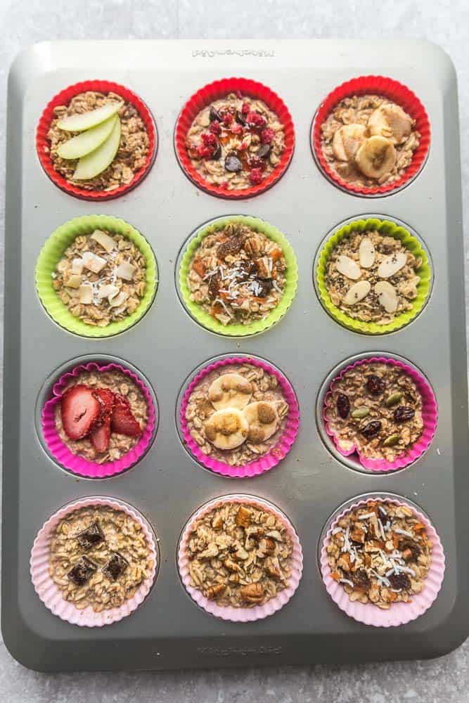 Easy oatmeal cups in a cupcake tin with colorful silicone cupcake liners.
