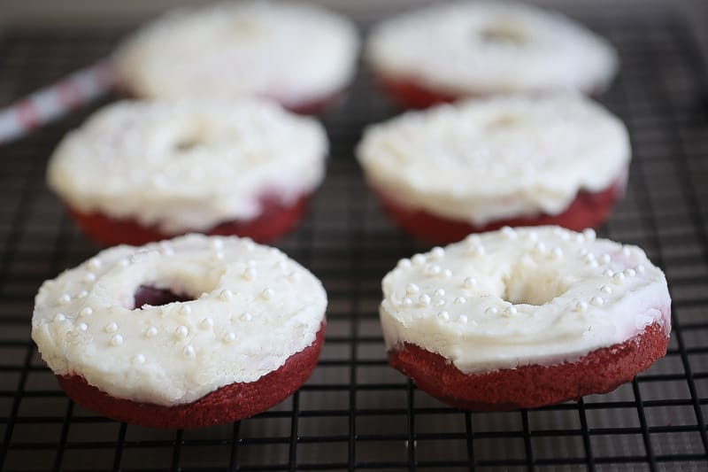 Baked Red Velvet Cake Donuts with Cream Cheese Glaze make the perfect Valentine's Day Treat