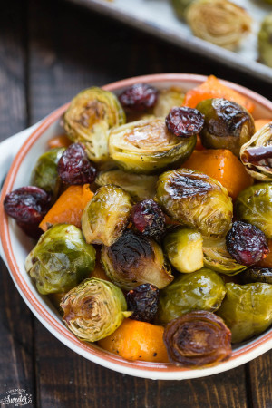 Balsamic Roasted Butternut Squash & Brussels Sprouts make an easy side dish for fall