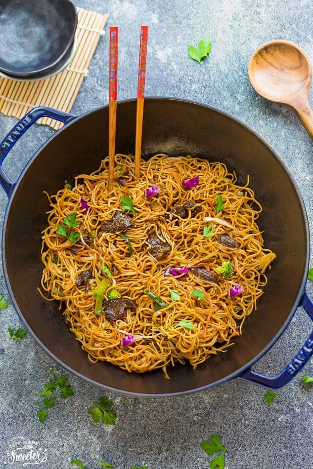 Beef Chow Mein is the perfect easy weeknight meal! Best of all, it comes together in under 30 minutes in just one pot! Forget calling restaurant takeout, this recipe is so much better with authentic flavors. Seriously the best!!
