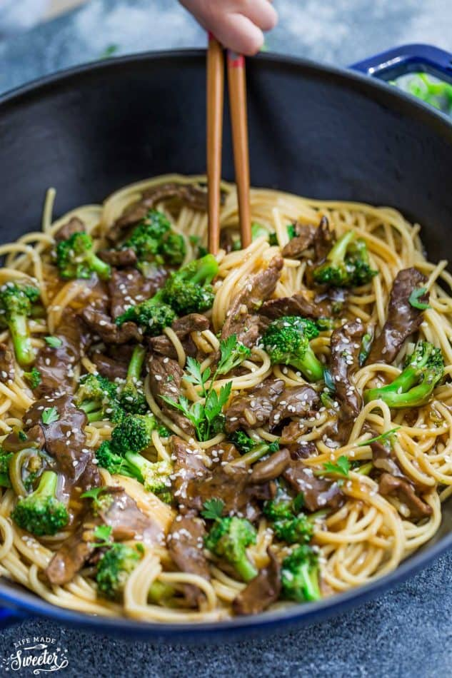 Close-up of Beef Lo Mein Noodles with Broccoli in a skillet