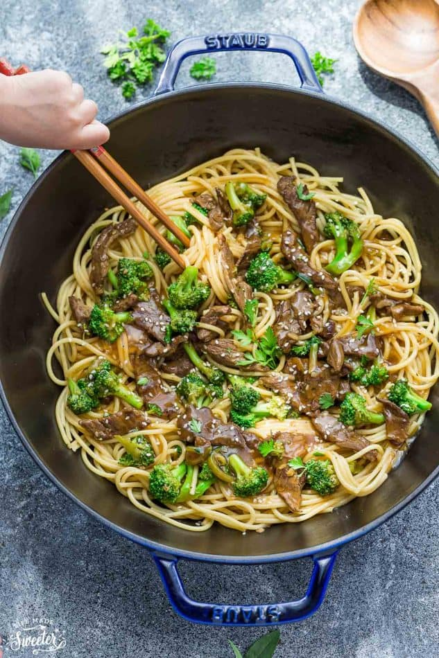 Top view of Beef Lo Mein Noodles with Broccoli in a skillet