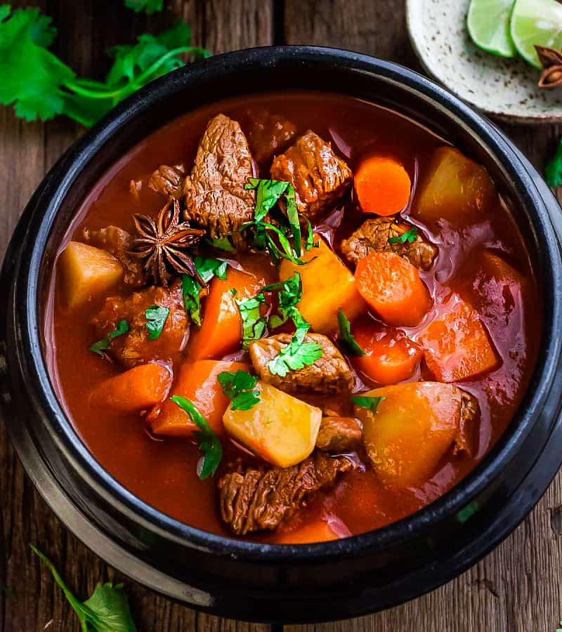 This recipe for Classic Homemade Beef Stew makes the perfect comforting dish on a cold day. Best of all, it's easy to make and has the most delicious tender meat with carrots, potatoes, sweet potatoes and celery. So good for warming up on a cold day and reminds you of mom's home cooking.!