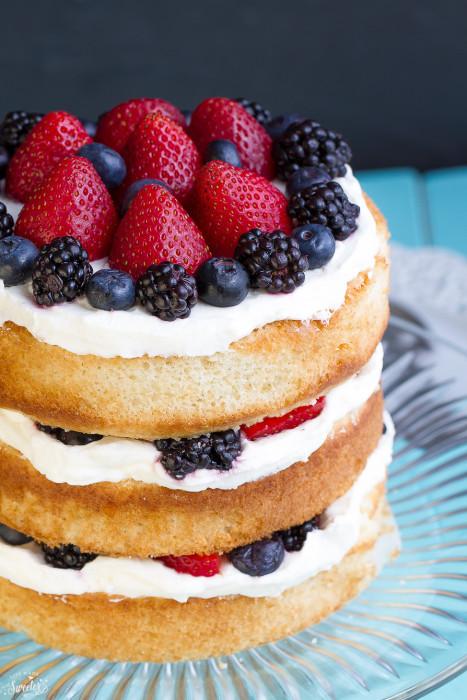 Berry Cream Sponge Cake on a plate