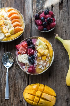Berry Mango Coconut Layered Smoothie Bowl