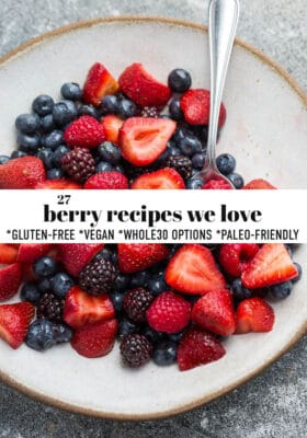 Featured image for berry recipes with fresh berries on cream colored plate.