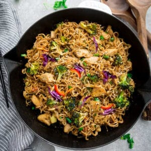 Top view of chow mein noodles in pan