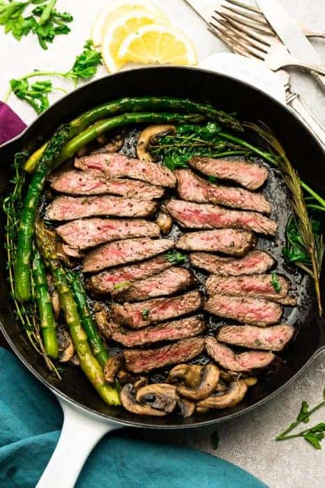 Pan Seared Steak with Asparagus and Mushrooms