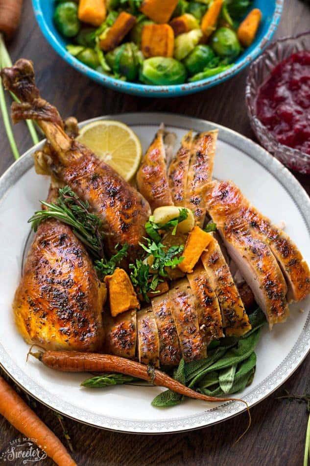 Sliced Thanksgiving Roasted Turkey Leg on a Plate