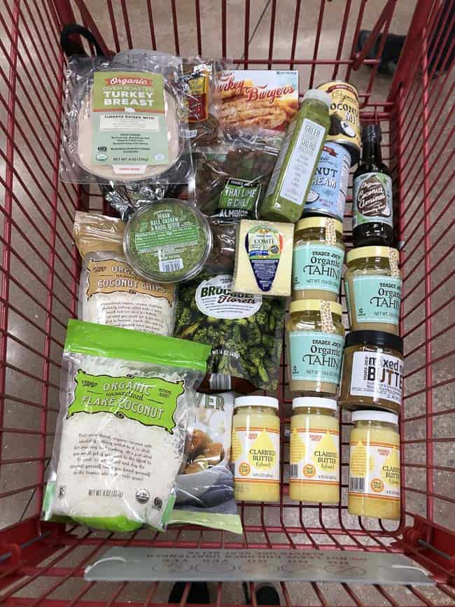 A cart of Trader Joe's groceries