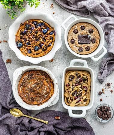 Blueberry Muffin Oatmeal, Churro Oatmeal, PB&J Oatmeal and Grain-Free Oatmeal on a Table with Two Cloths