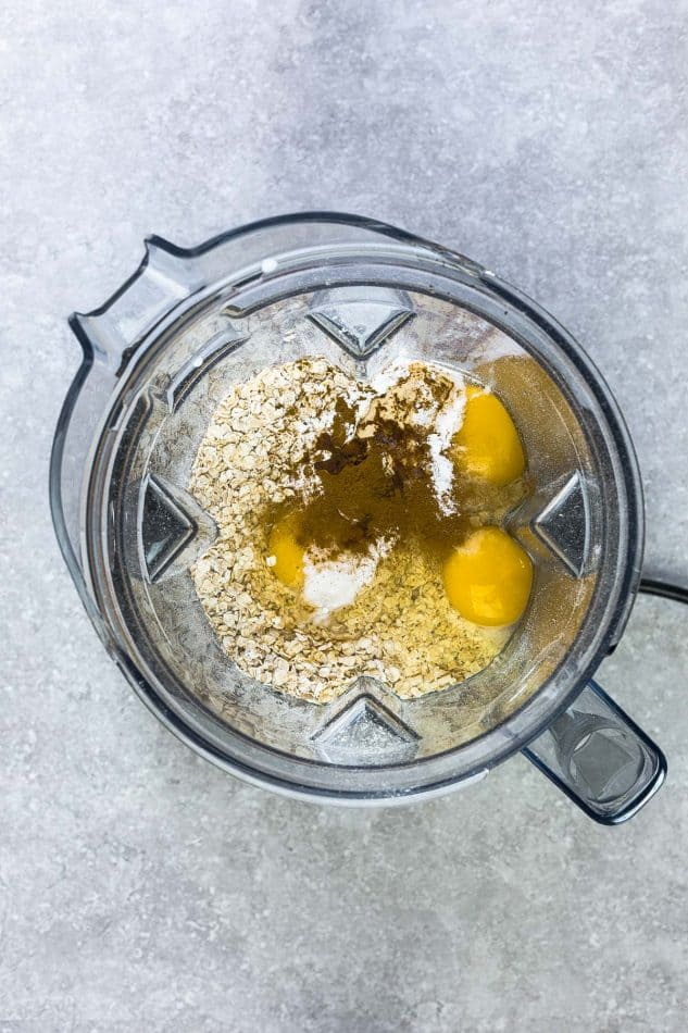 Top view of ingredients for Easy Blender Muffins in a blender pitcher