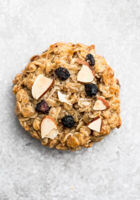 Top view of blueberry breakfast cookie