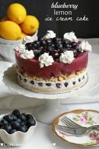 Blueberry Lemon Ice Cream Cake on a cake stand