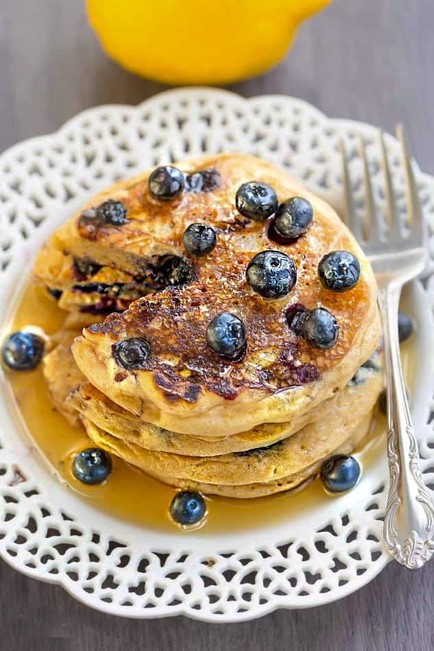 Fluffy Blueberry Lemon Pancakes make the perfect weekend breakfast
