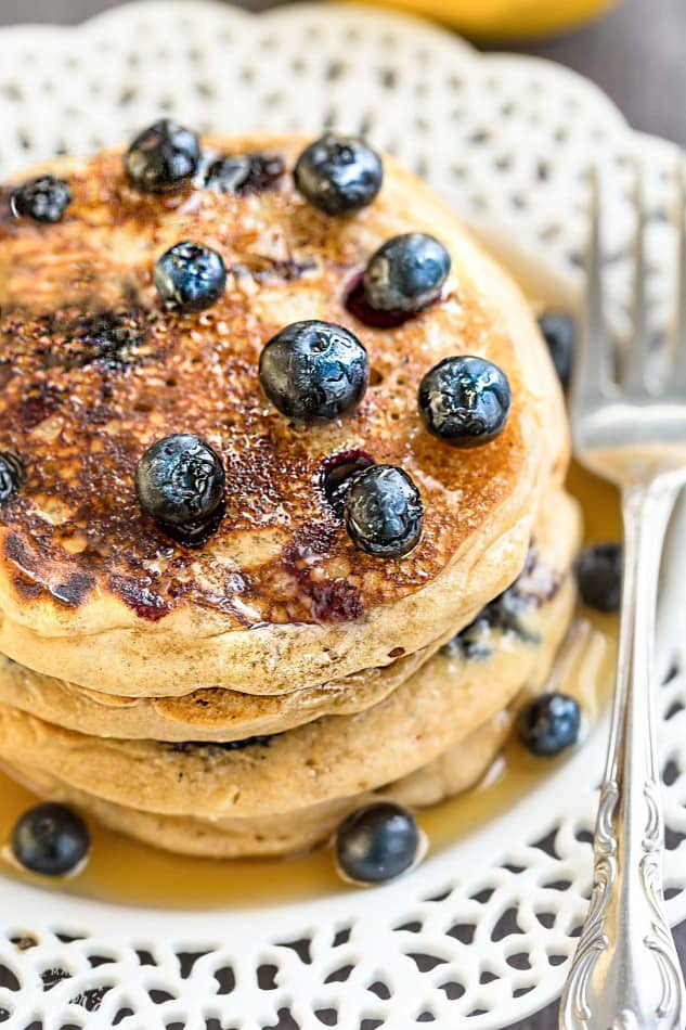 Blueberry Lemon Pancakes make the perfect easy breakfast. Best of all, they're bursting with blueberry and a punch of citrus in every bite.