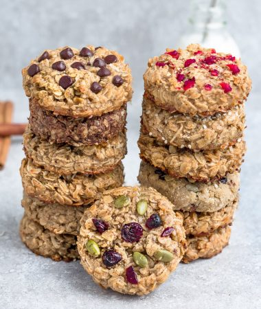 Two Stacks of Oatmeal Cookies with Various Flavors Baked Into Them