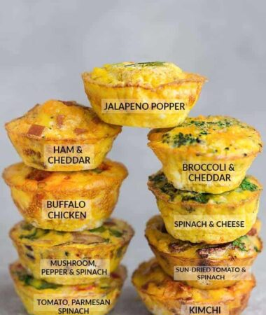 Side view of 9 Breakfast Egg Muffins on a grey background with labels