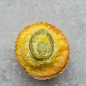 A Jalapeno Popper Egg Muffin on a Countertop Shot From Above