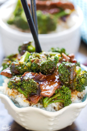 Beef and Broccoli makes the perfect easy flavorful weeknight meal. Best of all, this skinny version is so much healtier and better than takeout and takes only 25 minutes to make! Just 247 calories per serving!