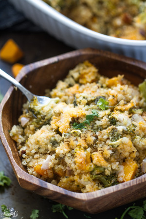 Broccoli Cheese Quinoa Casserole - a creamy casserole filled with broccoli, quinoa & a secret ingredient to make this creamy yet still light