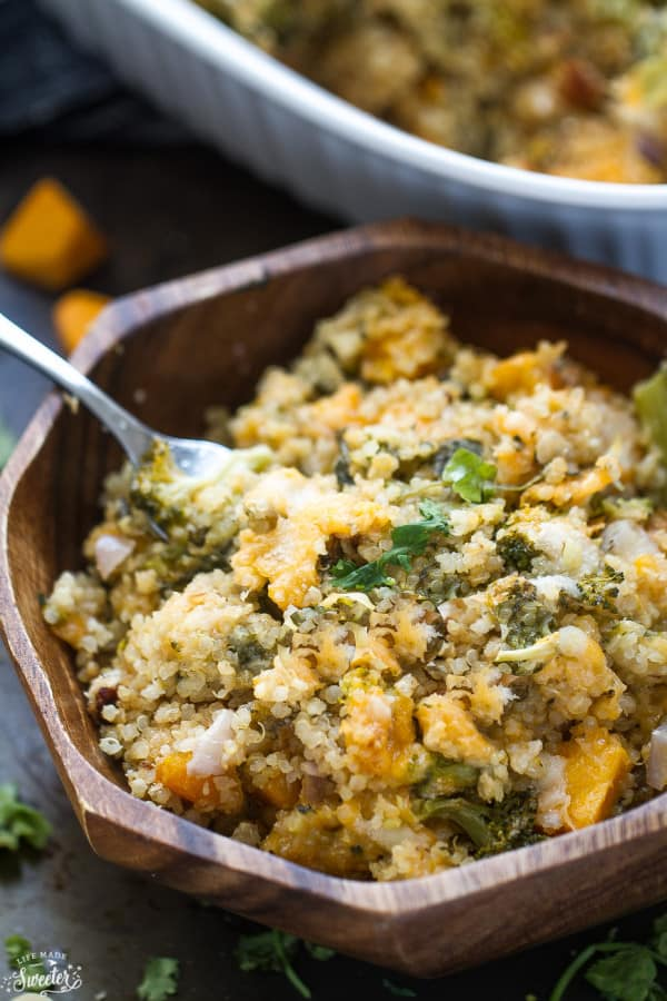 Broccoli Cheese Quinoa Casserole - a creamy casserole filled with broccoli, quinoa & a secret ingredient to make this creamy yet still light