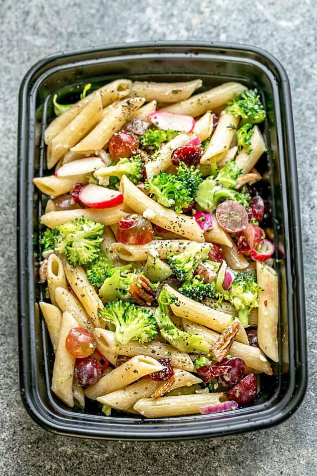Broccoli Pasta Salad with grapes and pecans the perfect side dish to bring to summer potlucks, parties, Memorial Day / Fourth of July grillouts/barbecues. Best of all, it's so easy to make and easy to customize with your favorite toppings and homemade dressing. Perfect for Sunday meal prep and leftovers are delicious for school or work lunchboxes or lunchbowls.