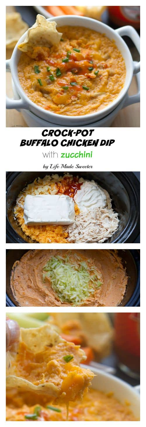 Buffalo Chicken Dip with Zucchini is really easy to whip up & perfect for summer parties