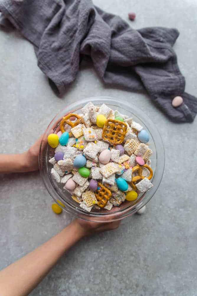 Bunny Bait - the perfect easy sweet and salty snack to munch on at spring or Easter parties. Best of all, this simple mix is fun to make with Rice Chex cereal, cashews, peanut butter, pretzels and Easter M&M's.
