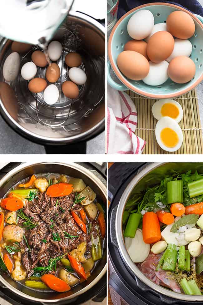 Collage of four different foods cooked in a Power Quick Pot XL