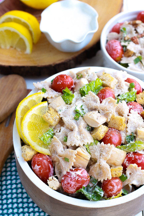 Caesar Pasta Salad is perfect for potlucks and BBQ's