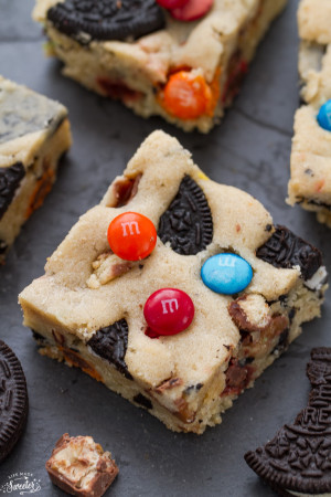 Candy Oreo Monster Blondies are the perfect way to use up Halloween candy