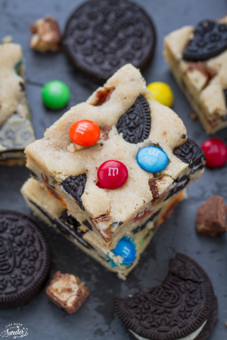 Candy Oreo Monster Blondie Bars
