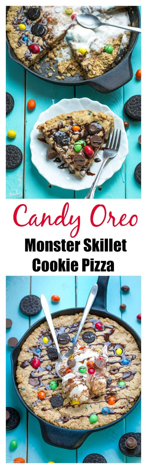 Candy Oreo Monster Skillet Cookie makes the perfect treat for using up leftover Halloween candy