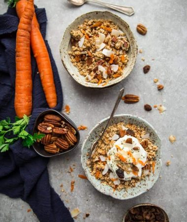 Carrot Cake Granola makes the perfect healthy gluten free breakfast or snack with all the flavors you love about carrot cake. Best of all, easy to customize and comes together with a few pantry ingredients.