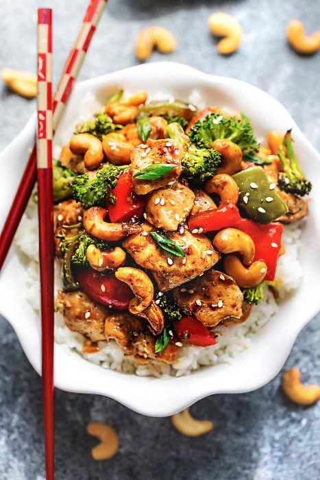 Cashew Chicken (Healthy) + Recipe Video