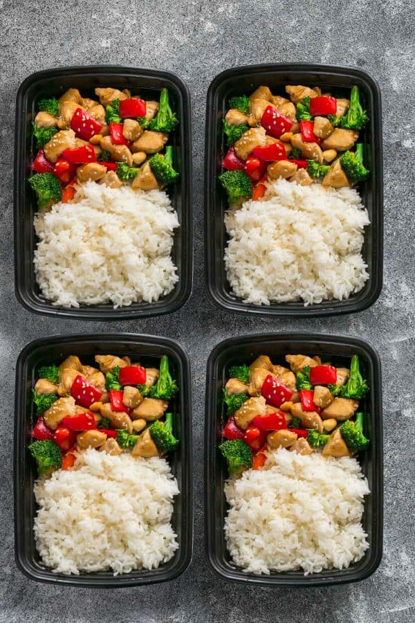 Healthier Cashew Chicken makes the perfect easy and lightened up weeknight meal. Best of all, this takeout favorite, is SO much healthier and better than your local restaurant with just a few minutes of prep time. With gluten free and paleo friendly options. This is so much better and healthier! Weekly meal prep or healthy leftovers are great for lunch bowls for work or school.