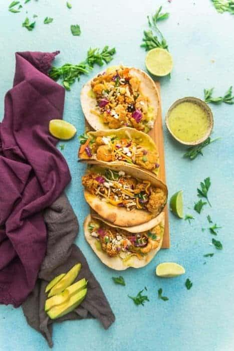 Roasted Cauliflower Tacos with Avocado Cream