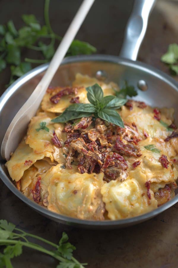 Cheese Ravioli with a Skinny Sun-Dried Tomato Alfredo Sauce makes the perfect comforting meal
