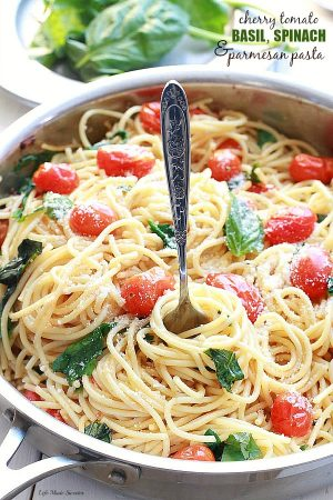 Cherry Tomato Basil Spinach and Parmesan Pasta