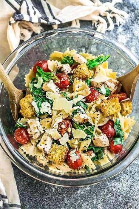 Chicken Caesar Pasta Salad + Recipe VIDEO
